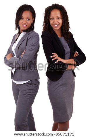 African american business womenswith folded hands, Isolated over white background - stock photo