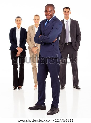 african american businessman and colleagues full length portrait on white - stock photo