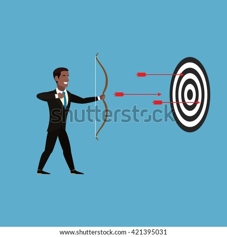 African American Businessman fired three arrows from a crossbow. Businessman in a brown suit, white shirt, gray tie. From crossbow fly three red arrows in the direction of the black-and-white target.