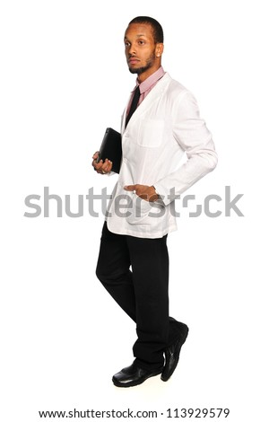 African American businessman holding electronic tablet isolated over white background