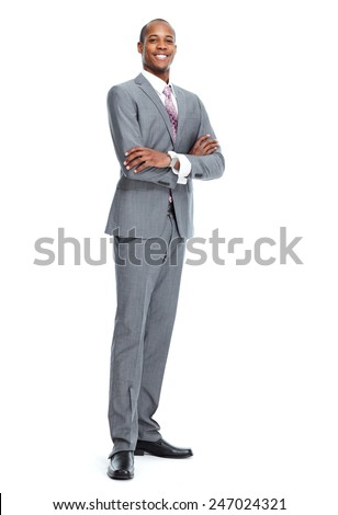 African-American Businessman isolated on white background - stock photo