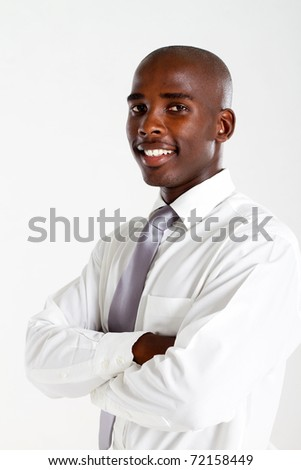 african american businessman over white studio portrait - stock photo