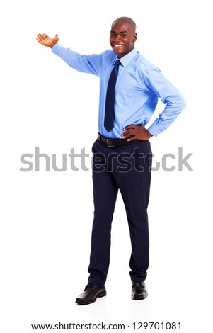african american businessman presenting on empty copyspace - stock photo