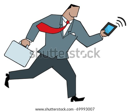 African American Businessman Running With Suitcases And Tablet