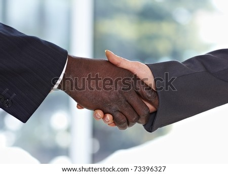 African American businessman shaking hands with caucasian businesswoman - stock photo
