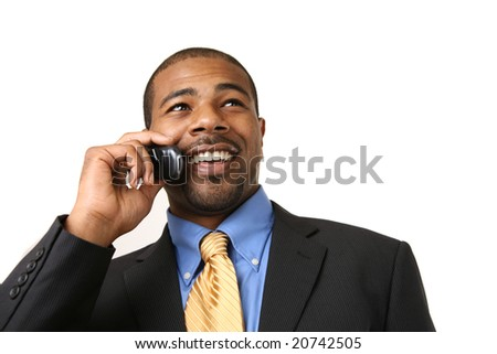 African American businessman talking on mobile phone, smiling. Close-up, isolated over white. - stock photo