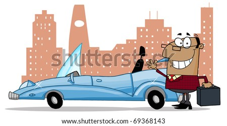 African American Businessman Waving Next To Convertible Car In Front Of Downtown