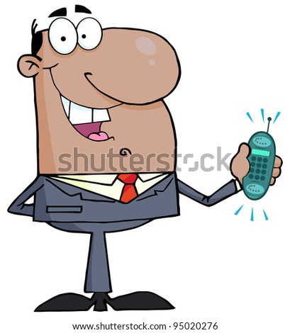 African American Businessman With Phone Ringing - stock photo