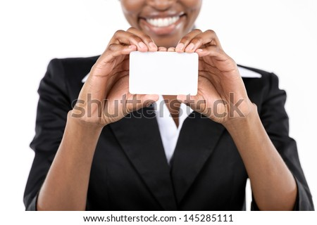 African American Businesswoman holding business card on white background. Close up - stock photo