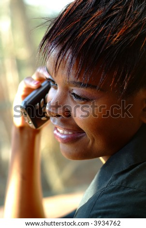 African American businesswoman on a telephone call - stock photo