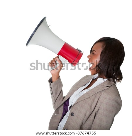 African American businesswoman screaming into a bullhorn isolated on white background.