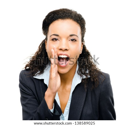 african american businesswoman shouting isolated white background - stock photo