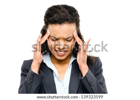 african american businesswoman stressed isolated white background - stock photo