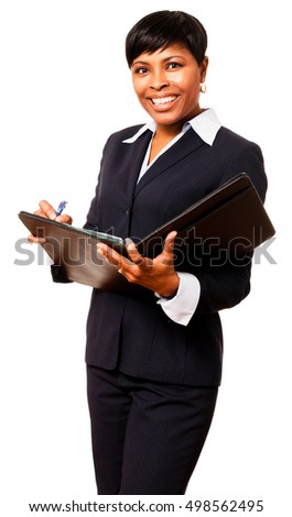 African American Businesswoman with notebook on White
