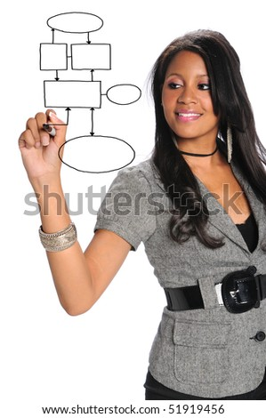 African American businesswoman writing on transparency isolated over white background - stock photo