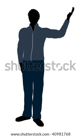 African American casually dressed silhouette on a white background