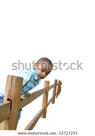 African American Child on Fence White Background - stock photo