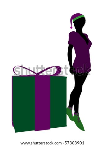 African american christmas elf standing next to a gift box illustration silhouette on a white background