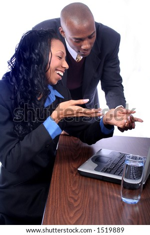 African American Couple with Computer - stock photo