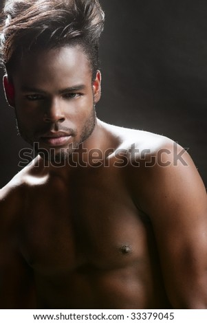African american cute black young man closeup portrait - stock photo