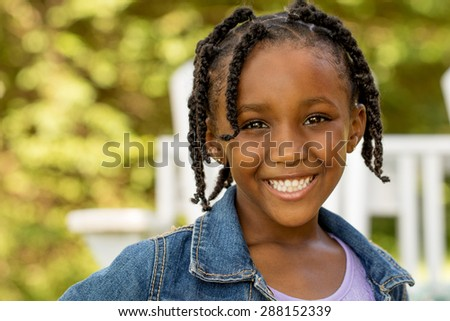 African American cute little girl  - stock photo