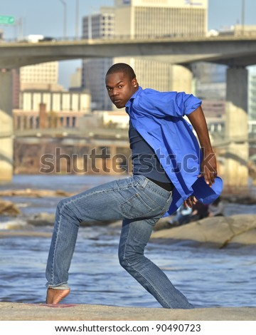 African American dancer at Belle Isle in Richmond Virginia.