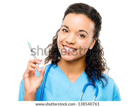 African  american doctor holding injection isolated on white background - stock photo