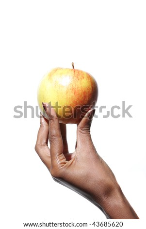 African American Elegant female hand holding a apple over white background - stock photo