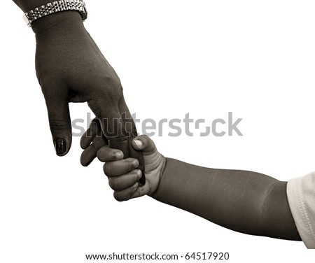 African-American family: child is holding mothers hand - black and white - stock photo