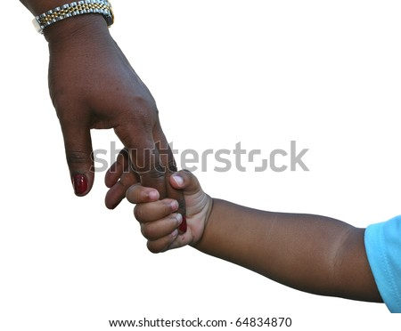 African-American family: child is holding mothers hand isolated on white - stock photo