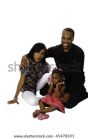african american family isolated on a white background - stock photo