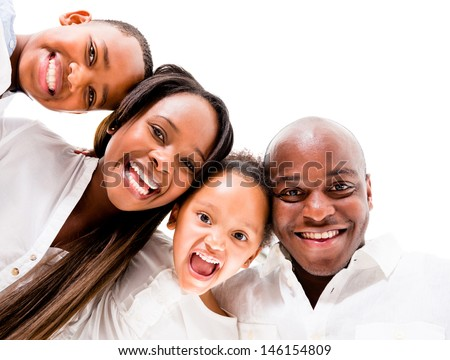 African American family looking very happy - isolated over white background  - stock photo