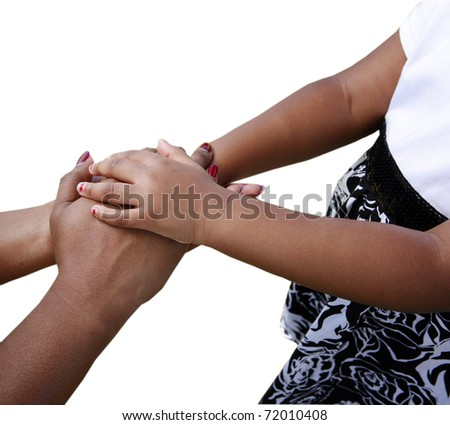 African-American family: mother and child holding hands isolated on white - stock photo