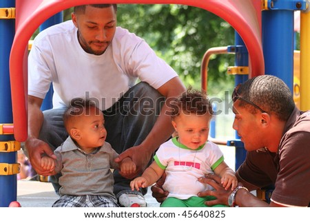 African American Family Playing - stock photo