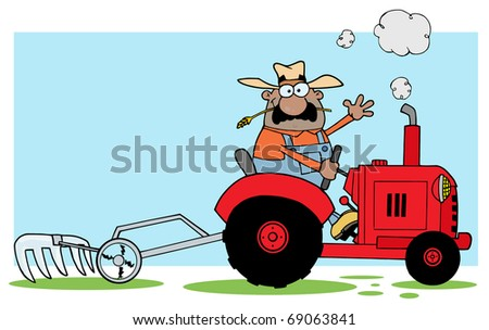 African American Farmer Driving A Red Tractor - stock photo