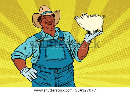 African American farmer with a pig-piggy Bank, pop art retro  illustration