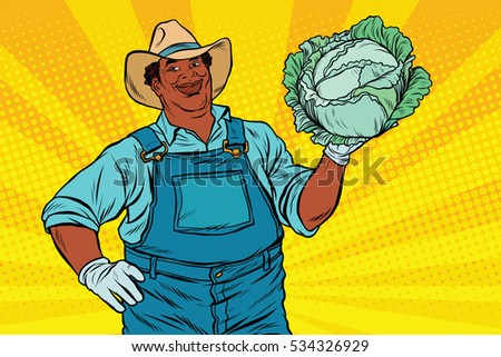African American farmer with cabbage, pop art retro  illustration