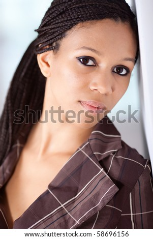 African American fashion model with afro hairstyle - stock photo
