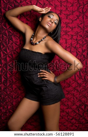 African American fashion model woman - stock photo
