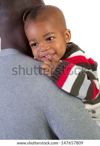 African American Father Holding Smiling Baby Boy Isolated on White Background - stock photo