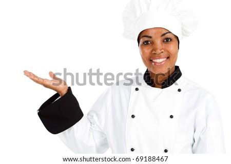 african american female chef presenting menu - stock photo