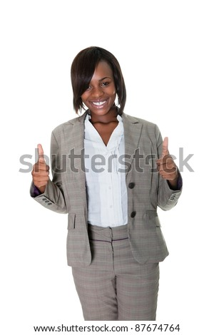 African American female executive showing thumbs up sign over white background. - stock photo