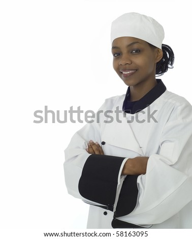 African American female woman black professional chef isolated on white - stock photo