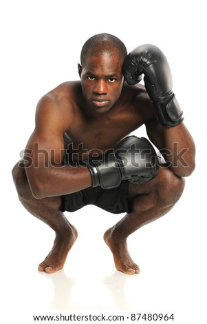 African American fighter with fighting gloves isolated over white background