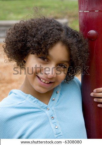 african american girl at the park - stock photo