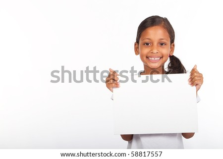 african american girl holding white board - stock photo