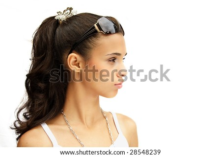 African american girl posing with sunglasses in her head. - stock photo