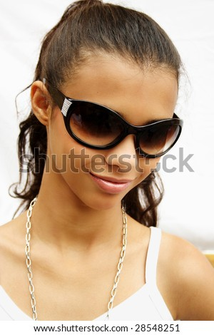 African american girl with sunglasses - stock photo