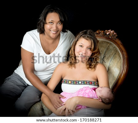 African American Grandmother with mixed race daughter and granddaughter - stock photo