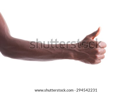 African american hand making thumbs up gesture - Black people - stock photo